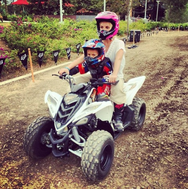 Britney Spears rides a quad bike with son Jayden