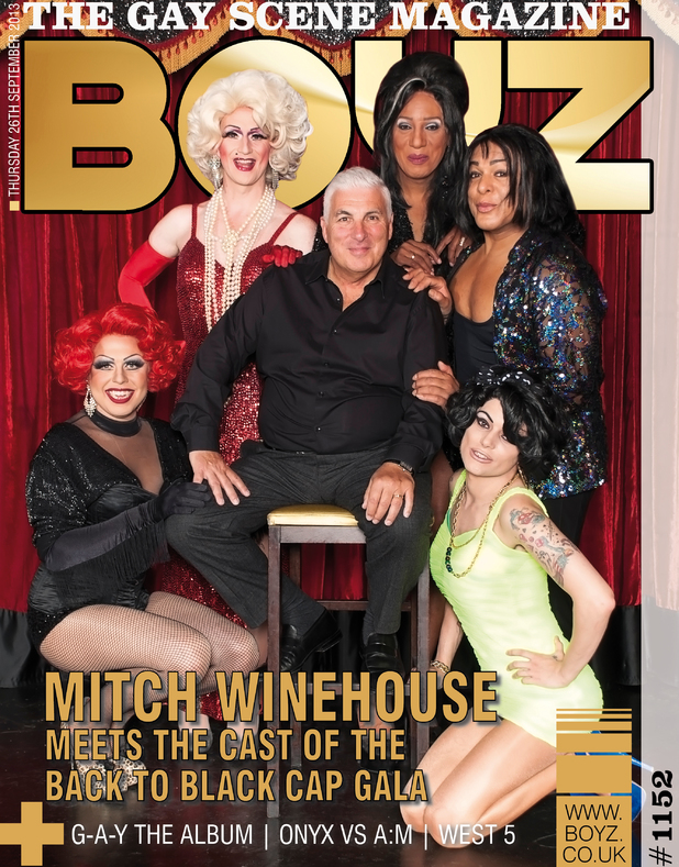 Mitch Winehouse poses on the cover of 'Boyz' magazine