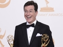 Jimmy Kimmel, Jimmy Fallon and Seth Meyers congratulate Stephen Colbert.