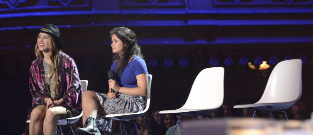 Bree Randall and Kaya Cohen at the Four Chair Challenge on 'The X Factor USA'