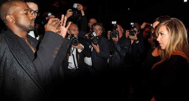Kanye West and Kim Kardashian - Givenchy show, Spring Summer 2014, Paris Fashion Week, France - 29 Sep 2013