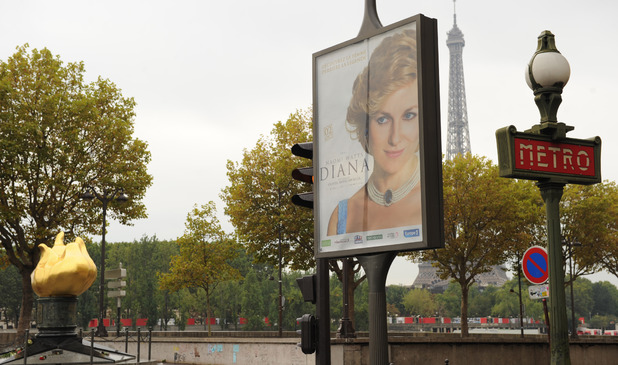 Billboard advertising 'Diana' near Pont de l'Alma, Paris where she died in 1997