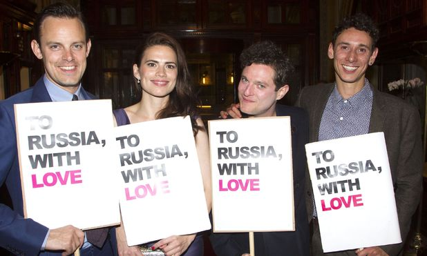 Harry Hadden-Paton, Hayley Atwell, Mathew Horne and Al Weaver at 'The Pride' press night after party in London