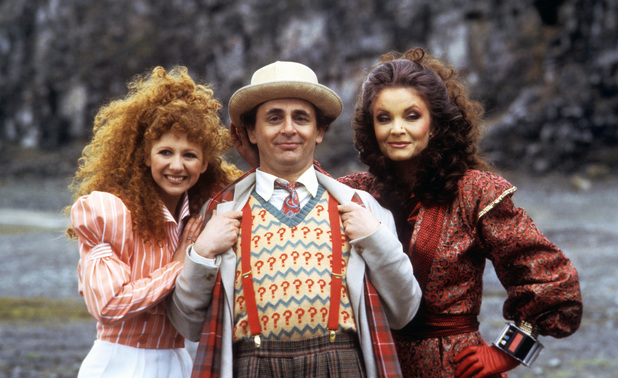 Kate O'Mara as The Rani alongside Sylvester McCoy and Bonnie Langford