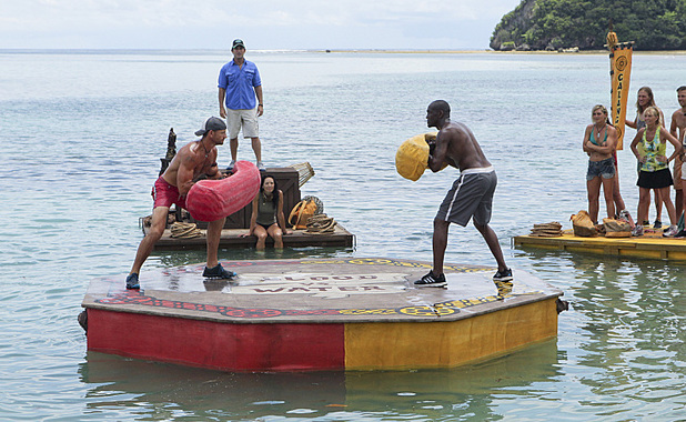 Jeff Probst watches as Brad Culpepper and Gervase Peterson square off