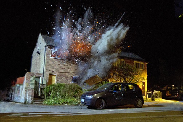 The council flat explodes.