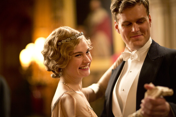 Lily James as Lady Rose and Andrew Alexander as Sir John Bullock in 'Downton Abbey' episode 3