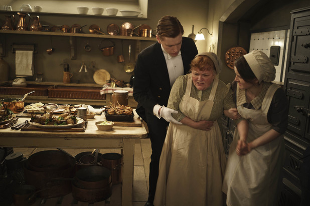 Matt Milne as Alfred, Lesley Nicol as Mrs Patmore and Sophie McShera as Daisy in 'Downton Abbey' episode 3