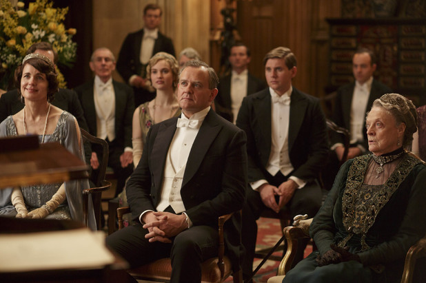 Elizabeth McGovern as Lady Cora, Lily James as Lady Rose, Hugh Bonneville as Lord Grantham, Allen Leech as Tom Branson and Maggie Smith as Violet in 'Downton Abbey' episode 3