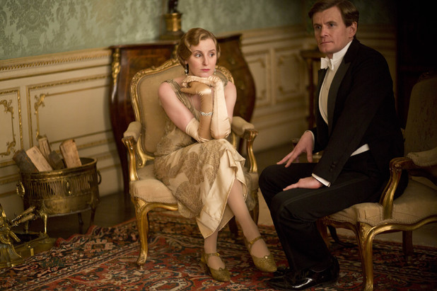 Laura Carmichael as Lady Edith and Charles Edwards as Gregson in 'Downton Abbey' episode 3