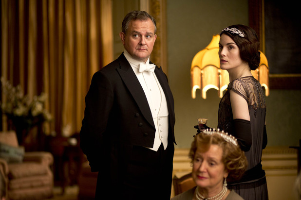 Hugh Bonneville as Lord Grantham, Joanna David as Duchess of Yeovil and Michelle Dockery as Lady Mary in 'Downton Abbey' episode 3