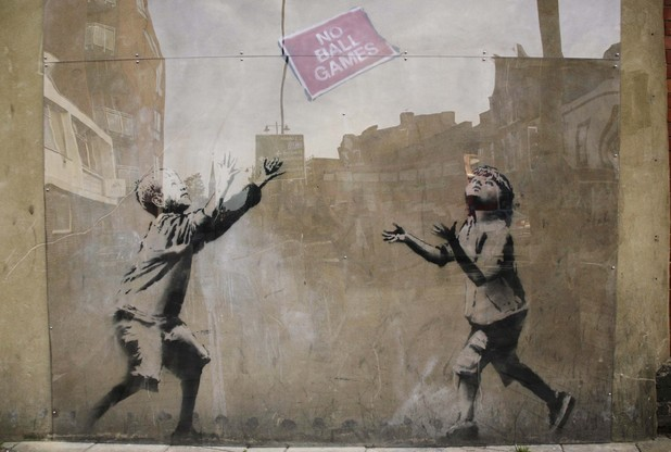 'No Ball Games' by Banksy, in Tottenham