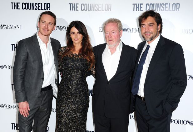Javier Bardem, Michael Fassbender, Penelope Cruz, Ridley Scott arriving at a special screening of new film The Counselor at the Odeon West End, London