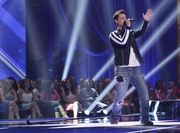 Jeff Gutt  performs at the Four Chair Challenge on 'The X Factor USA'