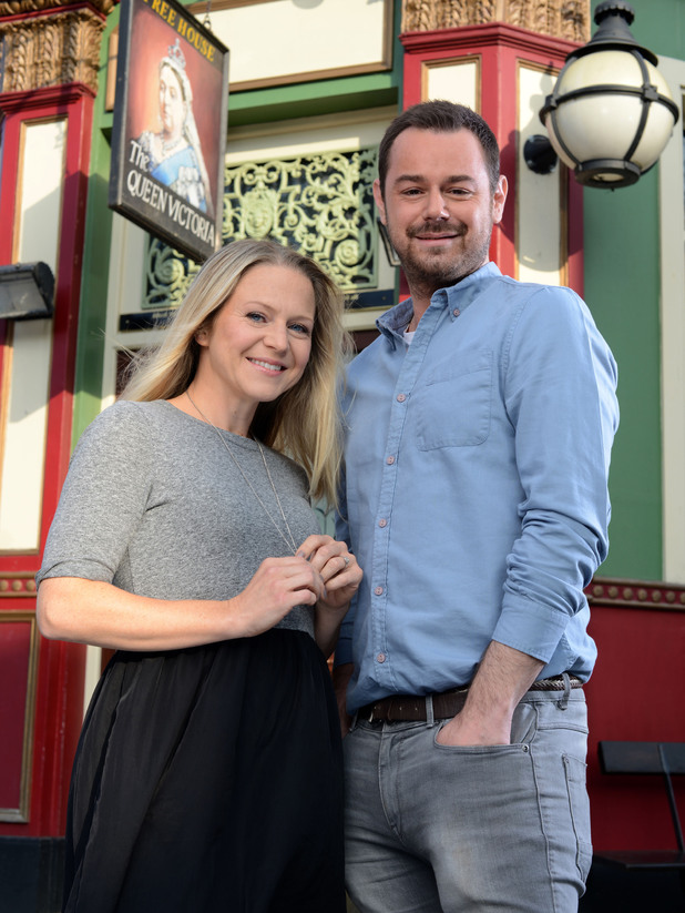 Kellie Bright and Danny Dyer on set at EastEnders