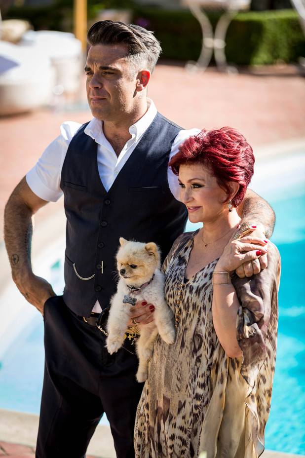Sharon Osbourne with guest judge Robbie Williams