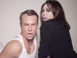 Miley Cyrus and Taran Killam in 'SNL' parody
