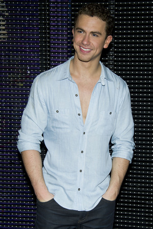 "Richard Fleeshman poses for a photo backstage after the initial performance of the Broadway musical ""Ghost"", in New York"
