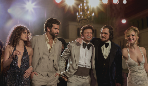 Amy Adams, Christian Bale, Bradley Cooper, Jennifer Lawrence, Jeremy Renner in American Hustle