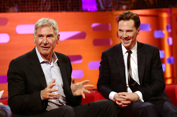 Harrison Ford (left) and Benedict Cumberbatch during filming of the Graham Norton Show at The London Studios, south London, to be aired on BBC One on Friday evening.