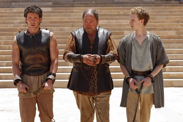 Mark Addy as Hercules, Jack Donnelly as Jason and Robert Emms as Pythagoras in 'Atlantis' episode three