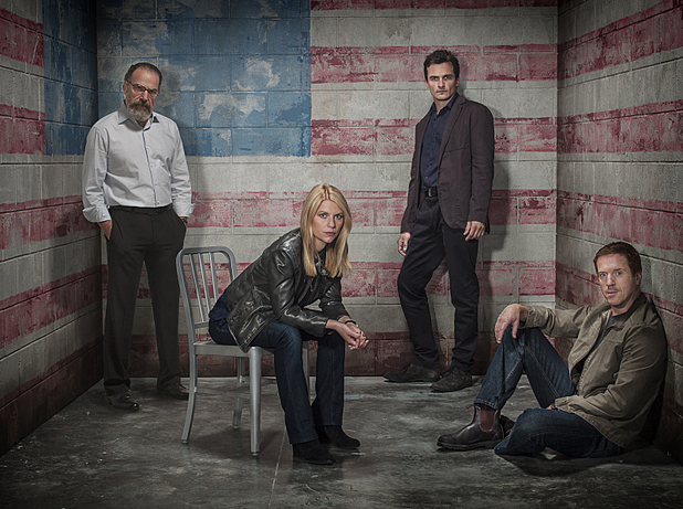 Homeland season 3 iconic image: Mandy Patinkin as Saul Berenson, Claire Danes as Carrie Mathison, Rupert Friend as Peter Quinn and Damian Lewis as Nicholas Brody