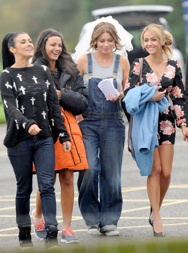 'Coronation Street' TV series location filming, Manchester, Britain - 09 Oct 2013Kym Marsh, Michelle Keegan, Alison King and Samia Ghadie 9 Oct 2013