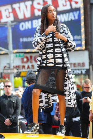DKNY photoshoot, New York, America - 14 Oct 2013 Jourdan Dunn