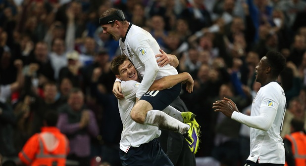 FIFA World Cup 2014: England's Steven Gerrard celebrates scoring his side's second goal with Wayne Rooney