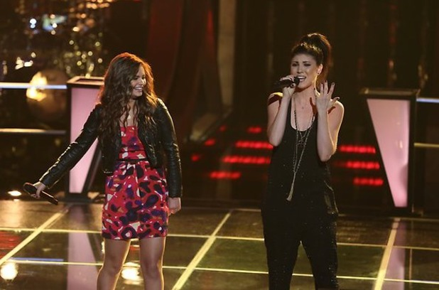 Briana Cuoco and Jacquie Lee sing against each other in part 1 of 'The Voice' battles.