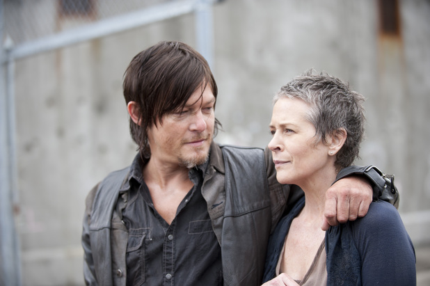Norman Reedus as Daryl and Melissa McBride as Carol in 'The Walking Dead' S04E01: '30 Days Without An Accident'