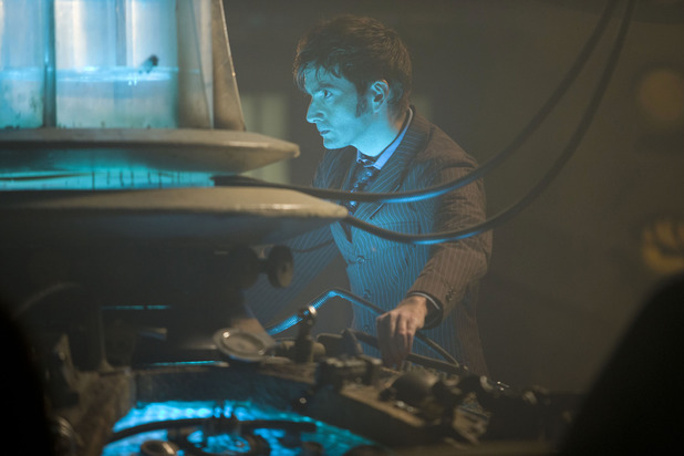 David Tennant back at the helm of the TARDIS.