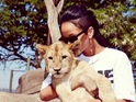Rihanna gets up close with nature at a sanctuary in Johannesburg, South Africa.