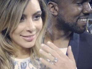 Kim Kardashian engagement ring with Kanye West