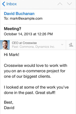 LinkedIn Intro iOS Mail app