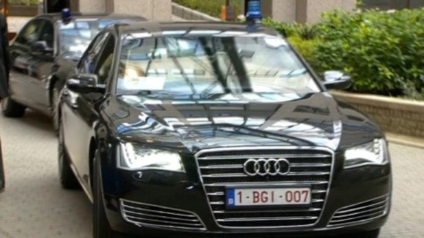 German chancellor Angela Merkel in 'James Bond' car