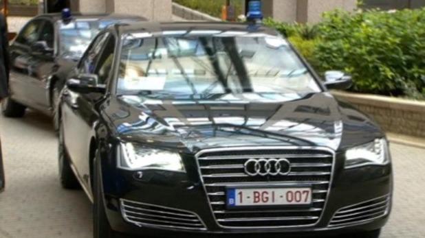 German chancellor Angela Merkel in 'James Bond' car