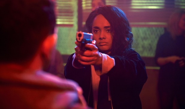 Jess (Karla Crome) points a gun at Finn (Nathan McMullen) in 'Misfits' Series 5 Episode 1
