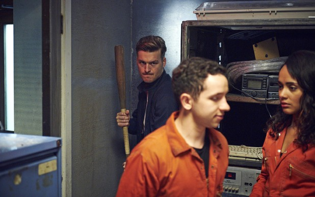 Alex (Matt Stokoe) behind Finn (Nathan McMullen) and Jess (Karla Crome) 'Misfits' Series 5 Episode 1
