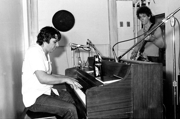 Lou Reed and John Cale of The Velvet Underground in the studio, 1975.