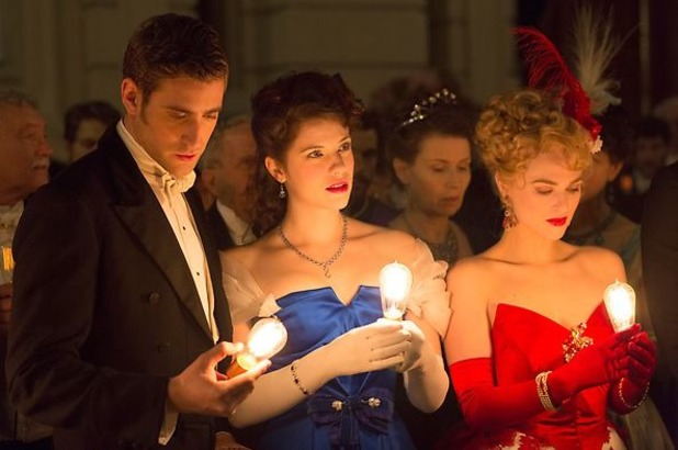 Oliver Jackson-Cohen as Jonathan Harker and Jessica De Gouw as Mina Murray in 'Dracula'
