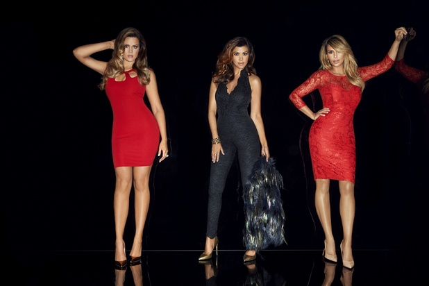 Khloe Kardashian, Kourtney Kardashian and Kim Kardashian pose for Lipsy