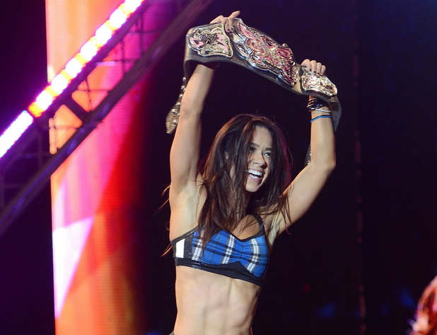 April Jeanette Mendez aka AJ Lee at the WWE World Tour 2012, held at The O2