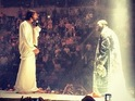 The rapper includes a lookalike of the religious figure in his new stage show.