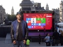 A super-sized version of Microsoft's latest tablet appears in London.