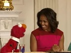 The US First Lady welcomes Elmo and Rosita to the White House.