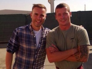 Gary Barlow visits troops in Afghanistan