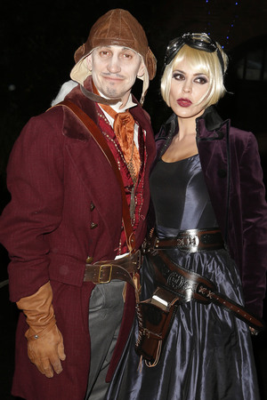Gary Lineker and Danille Bux Jonathan Ross Halloween party 2013