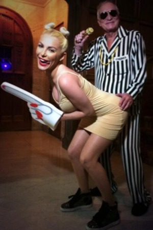 Hugh Hefner and wife dress as Miley Cyrus, Robin Thicke