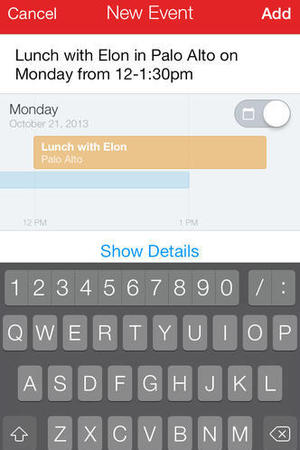'Fantastical 2' mobile app for iOS